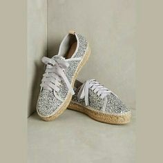 Charles David Silver Glitter Espadrille NIB Charles David Silver Glitter Espadrille. Low profile lace up sneaker w/ Espadrille sole. 1 in platform. Made in Spain.   No Trade or PP  Offers Considered  Bundle discounts Anthropologie Shoes Espadrilles