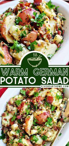 Potato Side Dishes, Side Dishes Easy, Vegetable Side Dishes, Vegetable Recipes, Salad Recipes With Bacon, Best Potato Salad Recipe, Healthy Recipes, German Potato Soup, German Potatoes