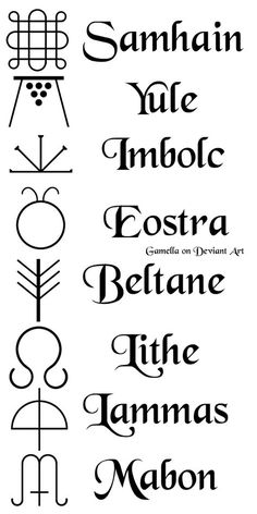 Sabbat Symbols by gamella on DeviantArt – Larp Witchcraft – symbole Wiccan Witch, Wiccan Spells, Pagan Yule, Demon Spells, Wiccan Magic, Norse Pagan, Green Witchcraft, Pagan Symbols, Pagan Art
