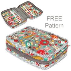 Carry along sewing case - FREE pattern Wraparound zipper bag sewing pattern for free. This free sewing pattern for the pretty zippered case will teach lots of sewing techniques and tips for. Sewing Pattern Storage, Easy Sewing Patterns, Bag Patterns To Sew, Clothes Patterns, Sewing Case, Free Sewing, Techniques Couture, Sewing Techniques, Sewing Hacks