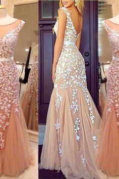Elegant Cap Sleeves Lace Prom Dress , White Lace Appliques Prom Dress, Sexy Deep V Back Floor Length Prom Dress , Free Custom Made Prom Dress