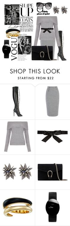 """""""Today is good day for smille😊"""" by cristinaraposo ❤ liked on Polyvore featuring Giambattista Valli, New Look, Alice + Olivia, Alexis Bittar, Gucci, Burton, Michael Kors, Rado and Alexander McQueen"""