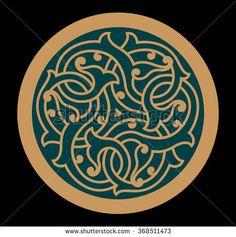 Iraq Interlaced Arabic Floral Ornament on a green Circle.
