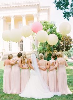 balloons + bridal party | #Wedding inspiration - love the color and style of this wedding.