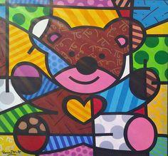 Done by Romero Britto love his work also Bear Art, Owl Art, Art Pop, Graffiti Painting, Art N Craft, Love Bears All Things, Naive Art, Teaching Art, Famous Artists