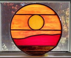 Sunset Stained Glass Window Panel  by StainedGlassYourWay on Etsy