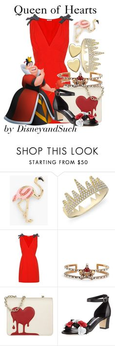 """Queen of Hearts"" by disneyandsuch ❤ liked on Polyvore featuring Talbots, Anne Sisteron, Miu Miu, Alexander McQueen, Love Moschino, Manolo Blahnik, Bloomingdale's, disney, aliceinwonderland and disneybound"