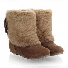 $14.92 Laconic Casual Elegant Women's Short Boots With Bowknot and Faux Fur Design