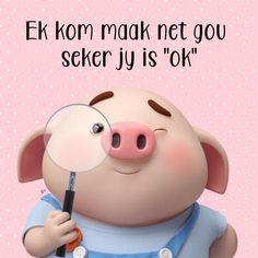 "Ek kom maak net gou seker jy is ""ok"" Unicorn Bath Bombs, Lekker Dag, Cute Piglets, Afrikaanse Quotes, Goeie More, Special Quotes, Good Morning Wishes, Little Pigs, Wisdom Quotes"