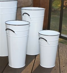 """Enamel White 11"""" French Flower Bucket - Metal Florist Containers - Glossy Painted Centerpiece Vase"""