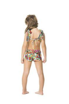 Agua Bendita Manzana Bikini screams summer with its brightly colored print and ruffled accents. #bikinishorts #kidshorts #kidsstyle