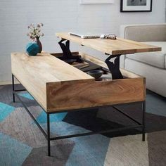 A coffee table that can rise up to lap level.