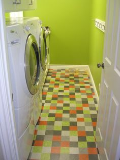 """Laundry room 4"""" squares 6 colors hand cut and installed by Master Mechanic…"""