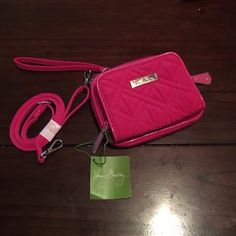 NWT! On the Square Wristlet - Fuchsia! New with tags! On the Square Wristlet in Fuchsia by Vera Bradley! Features three zippered pockets, built in wallet, Wristlet strap and cross body strap, bother removable. Vera Bradley Bags Clutches & Wristlets