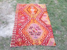 Oushak Rug The  rug Distressed Rug Cappadocia Rug by VINTAGECOME