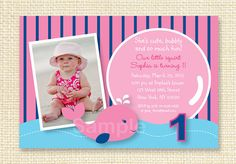 Little Pink Whale Printable Birthday by LittlePrintsParties, $10.00