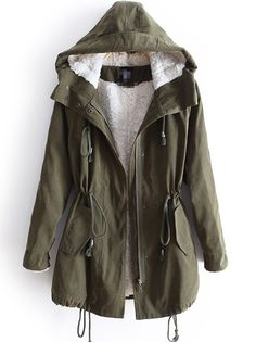 Green Hooded Long Sleeve Zipper Drawstring Coat