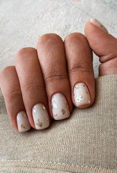 Cute Short Nails, Short Gel Nails, Short Nails Art, Gold Nail Art, Gold Nails, Nude Nails, Short Nail Designs, Nail Art Designs, Semi Permanente