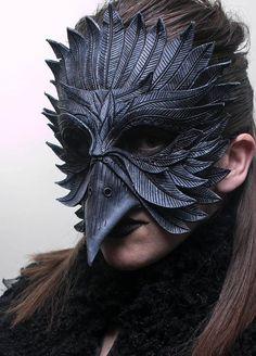 Items similar to Black Raven Handmade Genuine Leather Mask for Masquerades Cosplay or Halloween Costumes on Etsy Raven Costume, Raven Mask, Objets Antiques, Grey Highlights, Bird Masks, Leather Mask, Cool Masks, Animal Masks, Masks Art