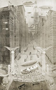 """๑ Nineteen Fourteen ๑ historical happenings, fashion, art & style from a century ago - Looking up Pine Street, Seattle, Washington, A.D. 2014, as """"forecast"""" in 1914"""