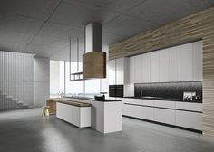 Give new personality to your house, thanks to the constant pursuit of beauty and functionality of this kitchen. The elm wood dors also transmit warmth to the whole environment even in a modern context. 60 Modern Kitchen Design Ideas And Remodel Luxury Kitchen Design, Luxury Kitchens, Modern Kitchens, Modern Kitchen Cabinets, Wooden Kitchen, Home Decor Kitchen, Kitchen Interior, Küchen Design, Interior Design