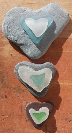 Bundle of Sea Glass and Sea Stone Hearts by SeaFindsScotland Hearts for Craft Supplies for Mobiles, Framing, Card Making