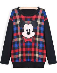 Black Long Sleeve Plaid Mickey Print Sweatshirt
