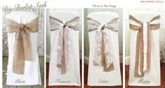 DIY Vintage & Rustic Wedding Burlap Hessian & Lace Sashes for Hire & Buy Wedding Bows, Sister Wedding, Our Wedding, Dream Wedding, Burlap Lace, Burlap Bows, Wedding Chairs, Wedding Chair Covers, Deco Table