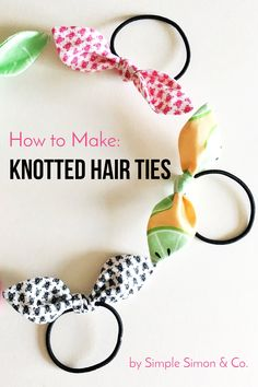 How to Make Knotted Hair Ties Learn how to make hair ties using fabric. A quick and easy beginner sewing project. Free sewing pattern for knotted hair ties includes hair tie templa. Easy Sewing Projects, Sewing Projects For Beginners, Sewing Hacks, Sewing Tutorials, Sewing Crafts, Sewing Tips, Diy Projects, Diy Crafts, Scrap Fabric Projects