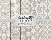 Damask Digital Paper Pack Instant Download Grey and cream printable DIY scrapbook personal and commercial use