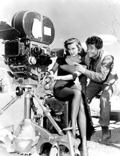 Angie Dickinson and Dean Martin on the film set of Rio Bravo he did along with celeb (Duke) John Wayne - web source -MR