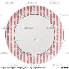 """Stylish Designs""  Stripes_Peach_ Plate"