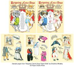 Reining Cats and Dogs Paper Dolls