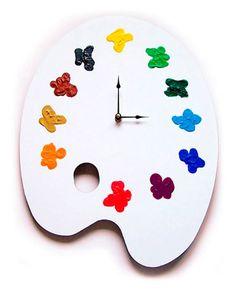 Artist Palette Clock - A Great Gift for an Artist or Art Teacher! Free U.S. Shipping at: http://www.artistgifts.com/unique-gifts/artists-palette-clock.html