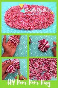 How to make a pom pom rug Very easy to make and Beautiful home-decor craft idea #pompom #pompomrug #diyfloormat #diyrug #yarncraft