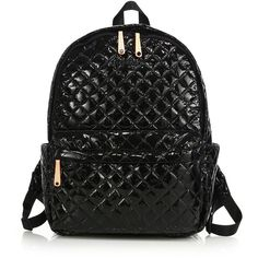 MZ Wallace Metro Lacquered Quilted Nylon Backpack (965 SAR) ❤ liked on Polyvore featuring bags, backpacks, apparel & accessories, black, pocket bag, quilted bags, nylon bag, rucksack bags and strap backpack