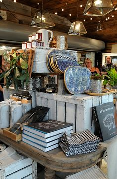Great idea - whitewashed crates to create height and interest.