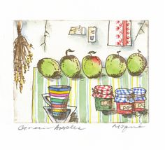 """ Green Apples seires""  by mie takase  / etching & water color"