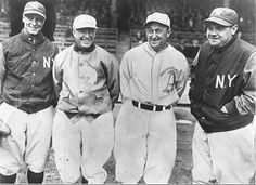 The lighter side of  Detroit Tiger Ty Cobb -  left to right: Gehrig, Speaker, Cobb, Ruth  1928