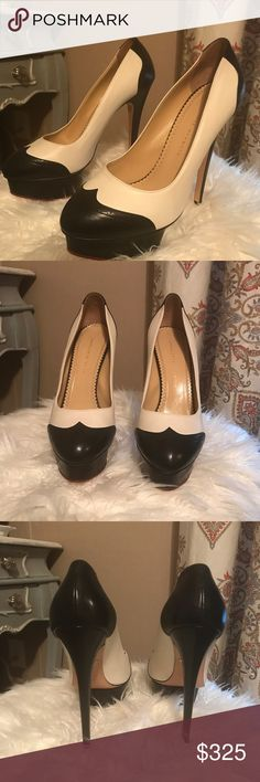 Charlotte Olympia Dolly Pumps Beautiful shoes.  Black and white.  Size 41.  No box or dust bag available. Charlotte Olympia Shoes