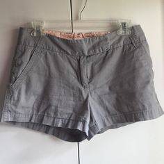 """JCrew Chinos JCrew chinos. """"Broken In"""" style. Gray, side pockets, hook and button closures at waistline. Size 4, cotton. 10.5"""" in length. J. Crew Shorts"""