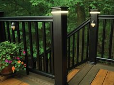 TimberTech Earthwood Deck with a Radiance Rail & DeckLites