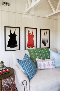 Perfect wall decor for a beach cottage - framed vintage bathing suits. 1940s Home, Beach House Decor, Beach Cottage Decor, Cottage Style, Wall Trends, Coastal Cottage Style, Beach Decor, Cottage Decor, Living Room Orange