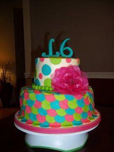 NEON Sweet 16  Cake by Jackielynn