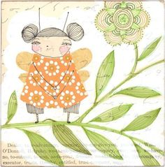 a whimsical mixed media print of a little fairy bug - an 8 x 8 inch limited edition archival print by cori dantini