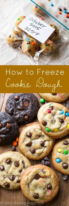 Instructions for freezing cookie dough! Great make-ahead tips for the busy holiday season! Instructions for freezing cookie dough! Great make-ahead tips for the busy holiday season! Frozen Cookie Dough, Cookie Dough Recipes, Baking Recipes, Dessert Recipes, Cookie Dough To Freeze, Baking Tips, Freezable Cookies, Freezer Cookies, Freezer Desserts