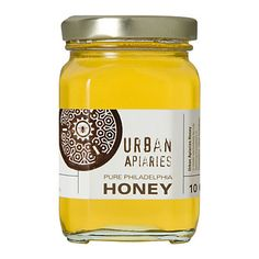 From urban hives dedicated to sustainable beekeeping, this pure wildflower honey comes from bees foraging Philadelphia rooftop gardens, window boxes, Jar Packaging, Honey Packaging, Honey Logo, Honey Label, Jar Labels, Bottle Design, Jar Design, Eat To Live, Packaging Design Inspiration
