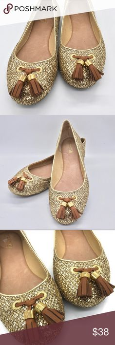 """SPERRY Top-Sider """"Bliss"""" Gold Ballet Flats - EUC These are in excellent condition and perfect for those long holidays when you're out and about. Leather trim. Sperry Top-Sider Shoes Flats & Loafers"""