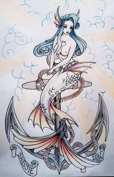 Tattoo old school mermaid awesome 38 ideas for 2019 Mermaid Anchor Tattoo, Mermaid Tattoos, Pin Up Mermaid, Mermaid Cat, Pin Up Tattoos, Music Tattoos, Cat Tattoo, Tattoo Drawings, Ocean Tattoos