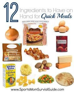 Do you have days when you just need to get a quick meal on the table?!? Keep these 12 ingredients on hand to help you get it on the table fast!
